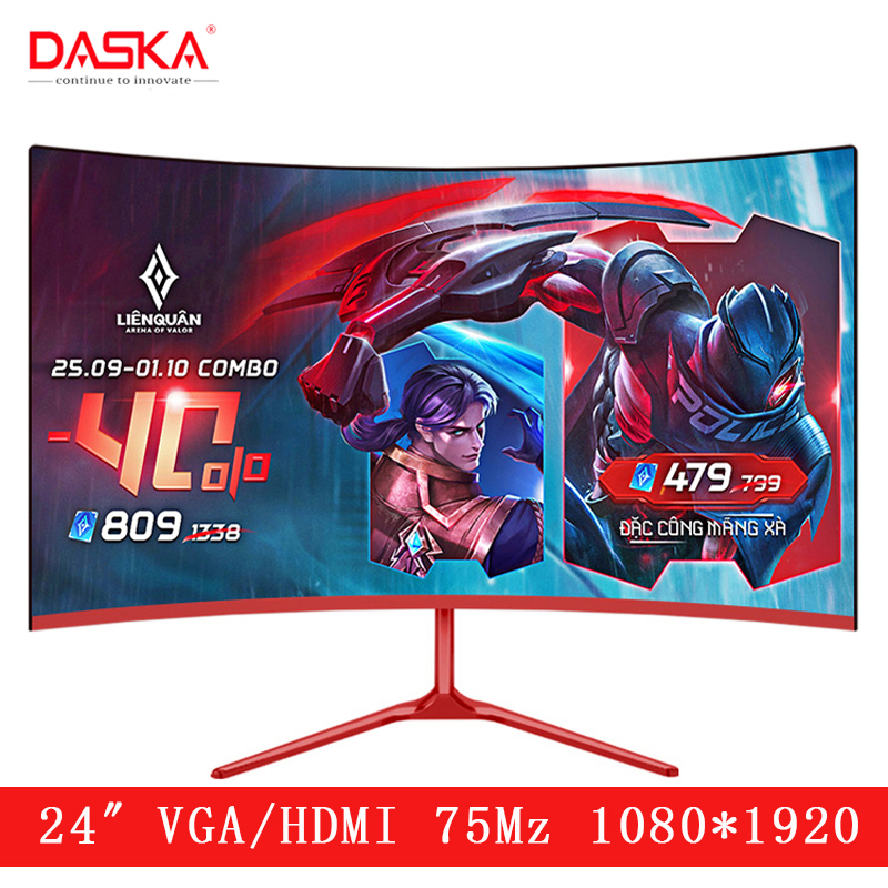DASKA 24 inch Curved LCD Monitor Gaming Game Competition 24 Led Computer Display Screen Full Hdd input 2ms Respons HDMI/VGA image