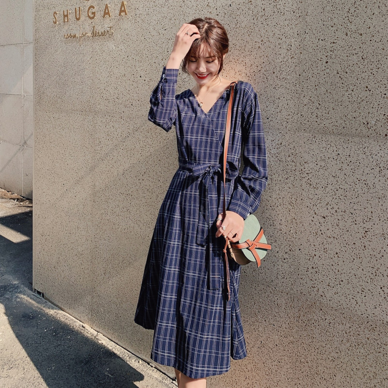 Plaid Shirt Dress <font><b>Children</b></font> 2019 Spring Clothing New Style Korean-style Loose-Fit over-the-Knee Students <font><b>BF</b></font> Versatile Long Skirts image
