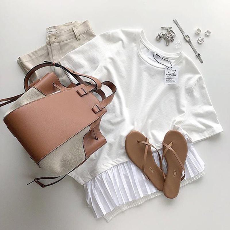 Повседневные Асимметричные женские футболки в стиле пэчворк, топы, женские облегающие белые футболки с коротким рукавом, осень 2019, корейски...