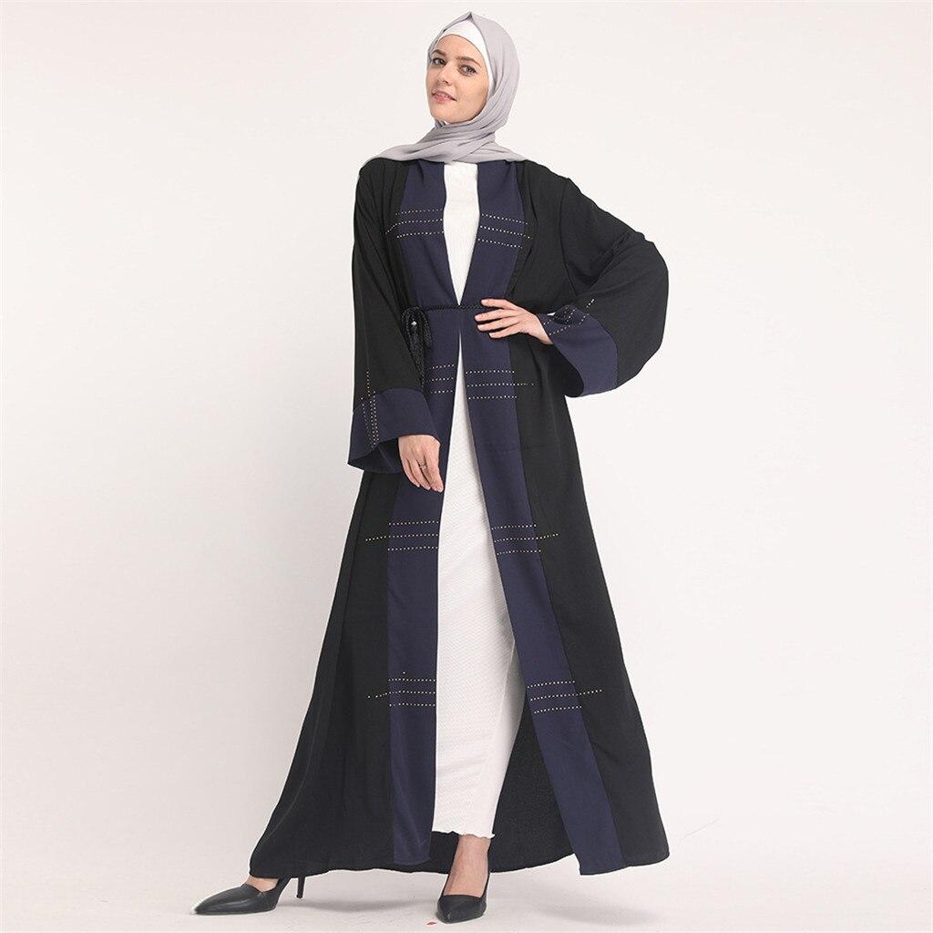 Женский халат размера плюс, 2019, абайя, Дубай, кафтан, женский, свободный, с бисером, макси, хиджаб, мусульманское платье, Турецкая, Исламская, м...