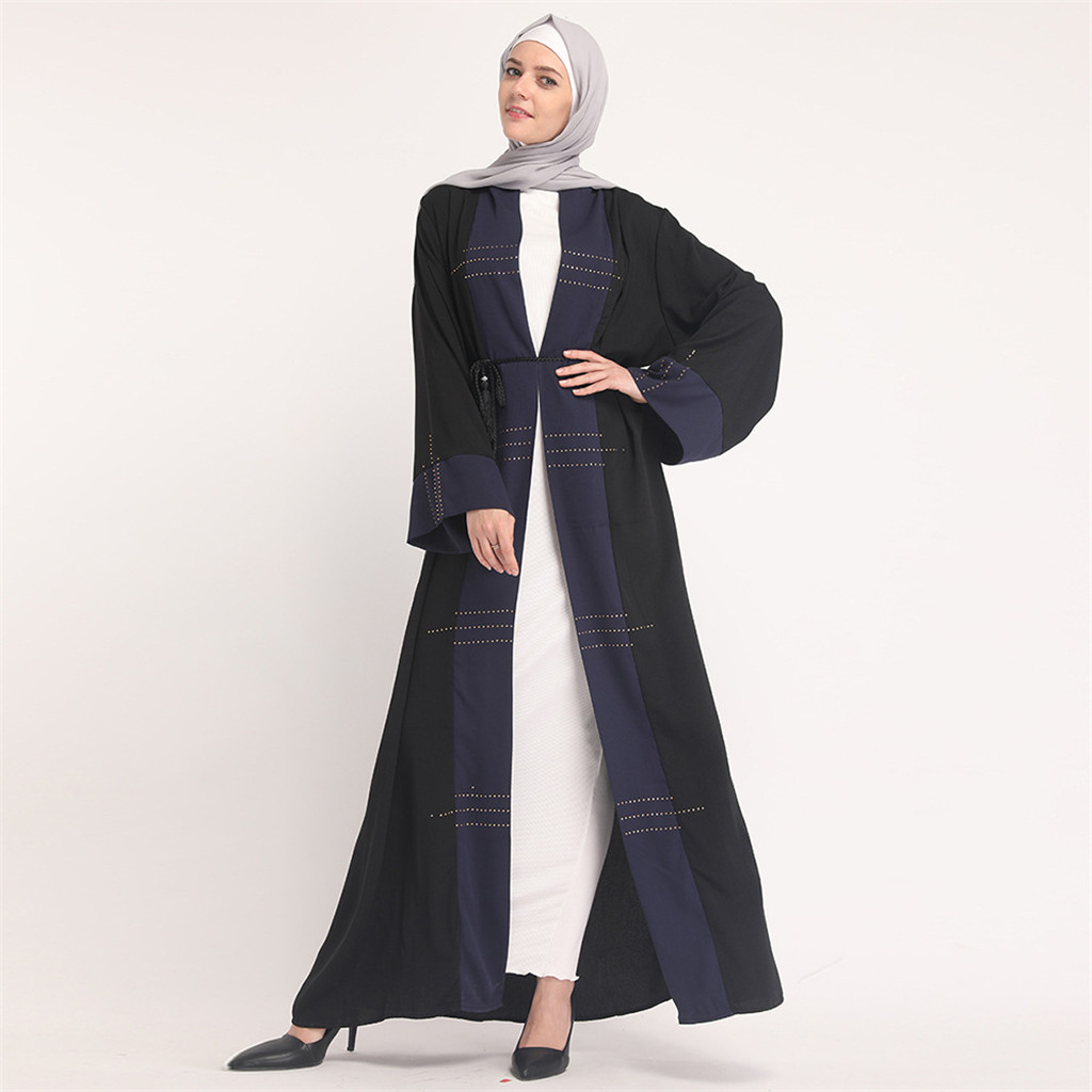 Plus Size Robe Femme 2019 Abaya Dubai Kaftan Women Loose Beading  Maxi Hijab Muslim Dress Turkish Islamic Prayer Clothing 11.1