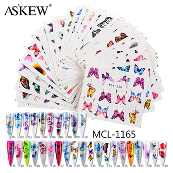 1Set Colorful Slider Flower Butterfly Designs Nail Art Stickers Watermark DIY Water Transfer Nail Decals Tips Manicure Tool wuf 10 sheets nail stickers mixed designs water transfer nail art sticker watermark decals diy decoration for beauty nail tools