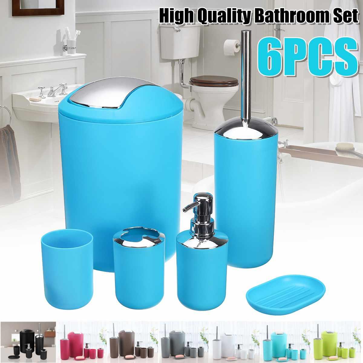 7 pièces/ensemble ensemble d'accessoires de salle de bain distributeur de Lotion porte-brosse à dents gobelet tasse porte-savon brosse de toilette poubelle