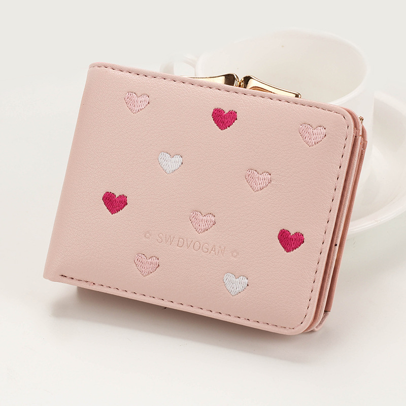 Japanese Multi-function Women's Mini Wallet Candy Color Heart-shaped Embroidery Women Short Wallet Cute Coin Purse Card Package - Цвет: Pink