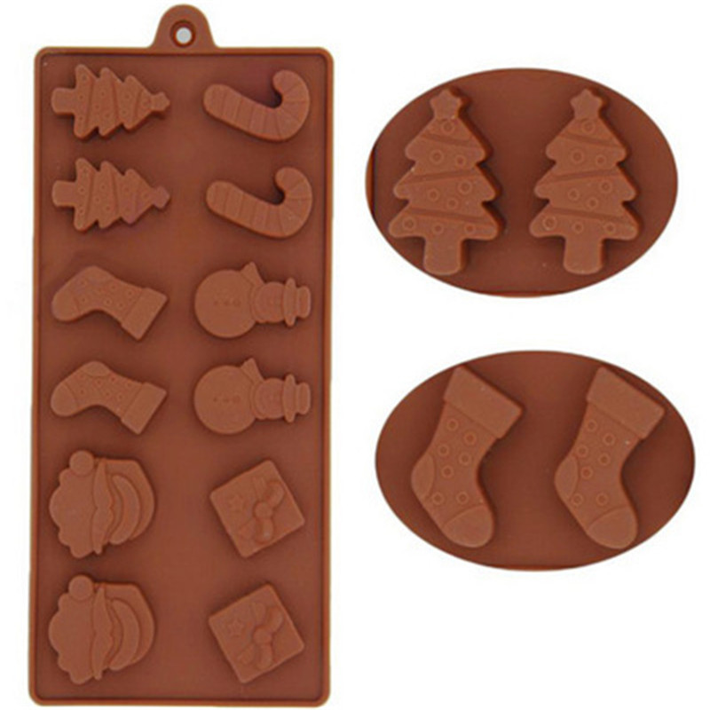 Silicone Chocolate Mold Candy Cookie Baking Fondant Mold Cake Decoration Tools Christmas Tree Santa Claus DIY Baking Tool