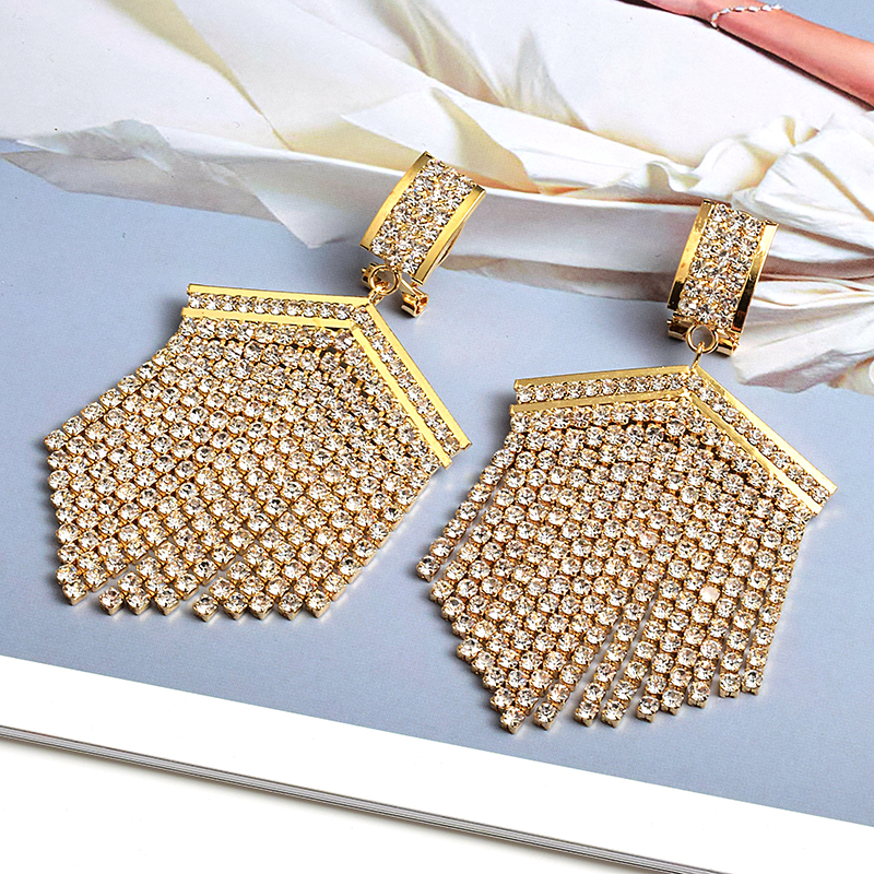 High-Quality Gold Metal Clear Rhinestone Long Drop Earrings Dangle Crystal Chain Tassel Jewelry Accessories For Women Wholesale