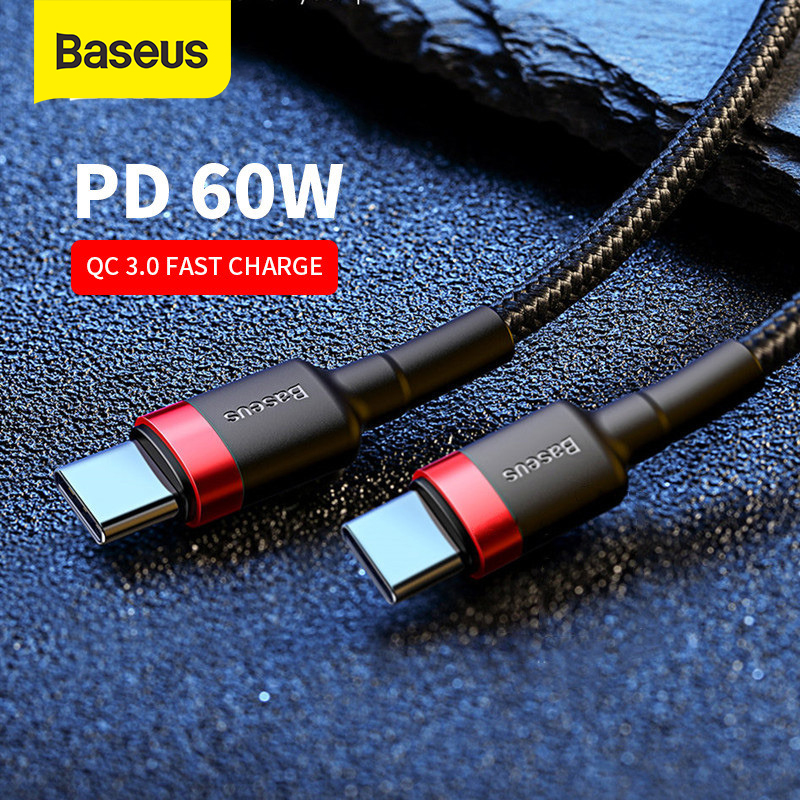 Baseus USB Type C To USB-C Cable For Samsung S9 S8 Note 9 MacBook Pro QC3.0 60W PD Quick Charge Cable Fast Charging Cord