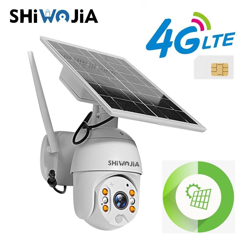 SHIWOJIA 4G sim-карта Солнечная камера 4G Wi-Fi 1080P 2MP HD наружная безопасность наблюдение ферма ранчо лес длительное время ожидания водонепроницаемый