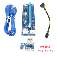 Mining GPU Card Riser VER 007C PCIE 1X To 16X Express Graphics Card Adapter USB 3.0 Miner Stable 6pin Power Supply Cable 10pcs G