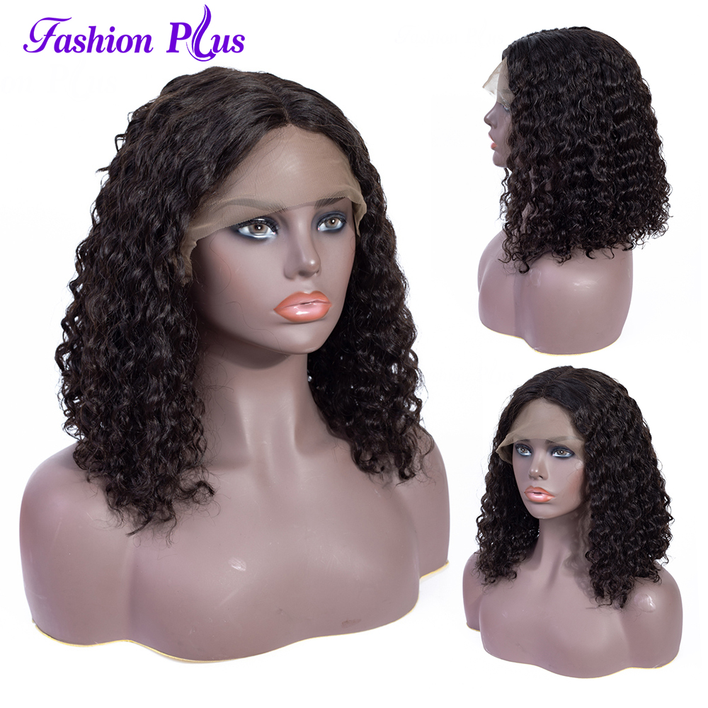 T Lace Wig For Women Short BoBo Machine Made Remy Hair Middle Part Pre Plucked Hairline Curly Wave Natural Color 150% Density