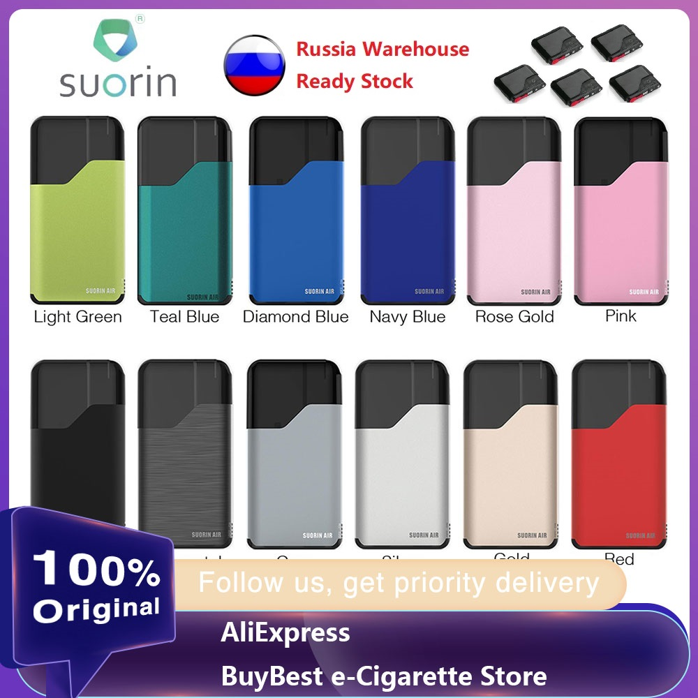 Suorin Air Starter Kit With Built-in 400mAh Battery & 2ml Capacity Cartridge Features Indicator Light & Refilling Vaping E-cigs