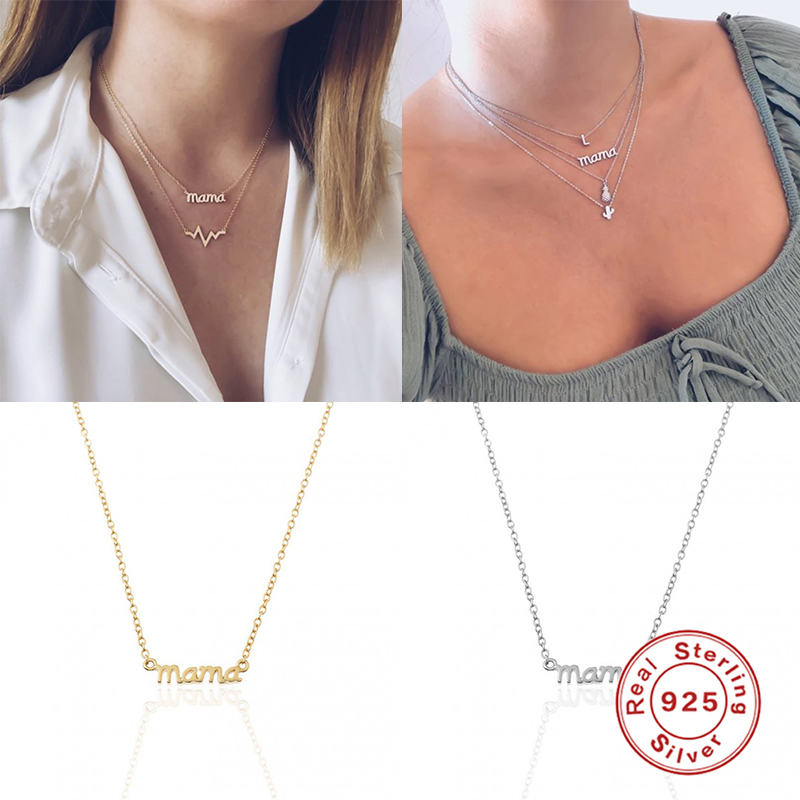 925 Sterling Silver Collares Minimalist MAMA Letter Pendant Necklace For Woman Mom Ladies Necklaces Mother's Day Birthday Gift
