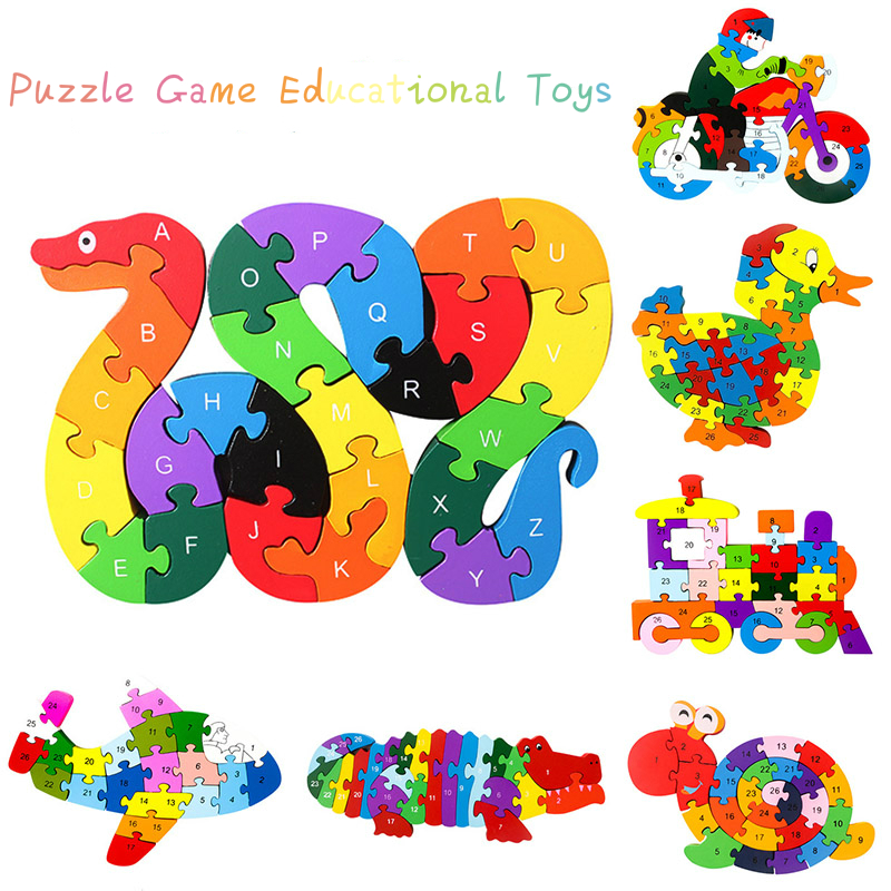 18 Baby Kids Children Wooden Toys Alphabet Number Building Jigsaw Puzzle Snake Shape Funny Digital Puzzle Game Educational Toys