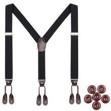 Fashion Suspenders Men Women Adult Leather Trimmed Button End Y Back Adjustable Elastic Trouser Braces Strap Belt Wedding Party