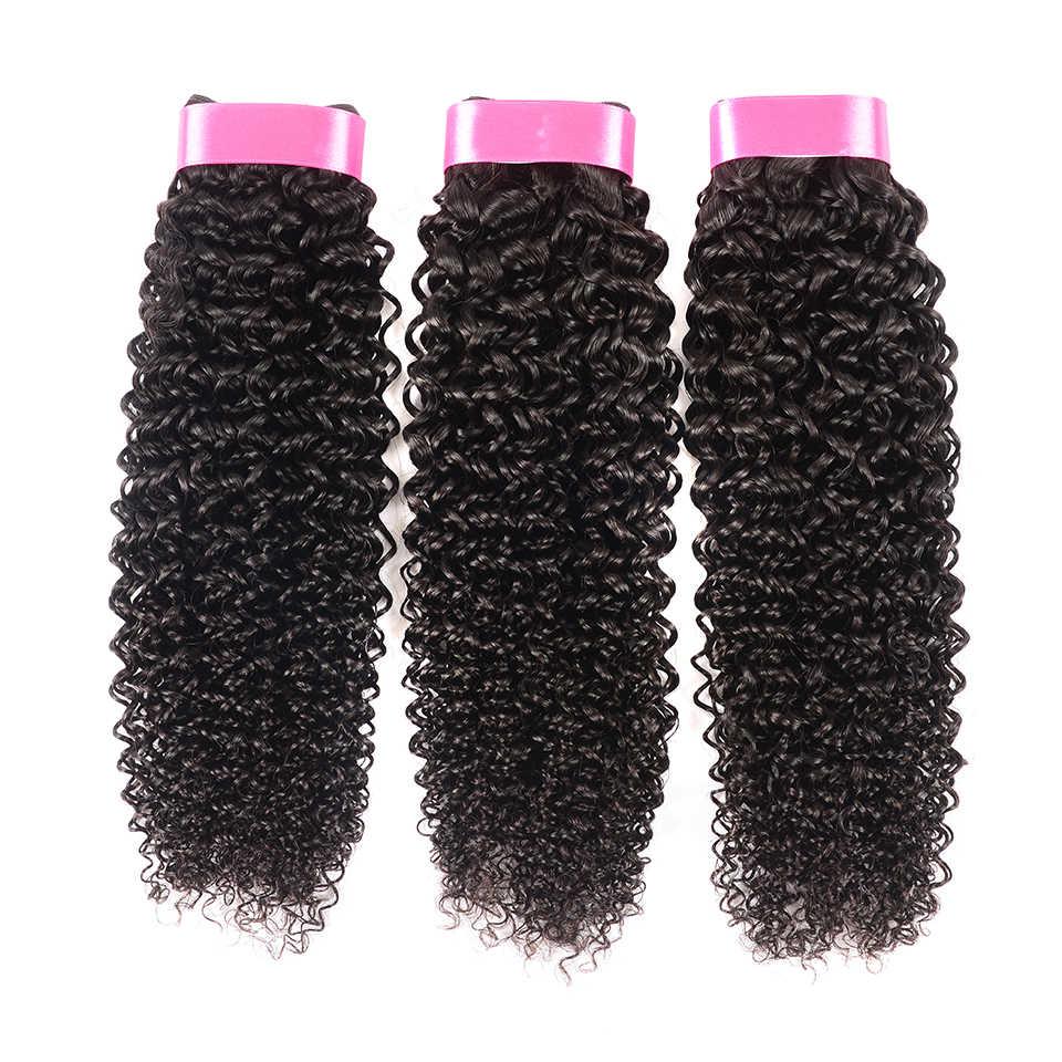 Karizma Pelo Rizado indio 3 oferta de extensiones 100% extensiones de cabello humano que tejen extensiones de cabello No Remy se pueden teñir sin derrames