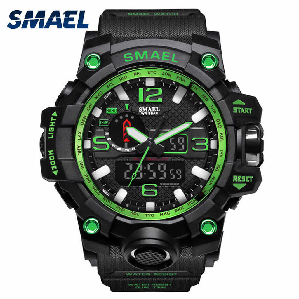 مشاهدة الرياضة الرجال العسكرية SMAEL ساعة مزدوجة العرض الرقمية LED ساعة كوارتز ساعة relogio الرقمية ساعة المعصم