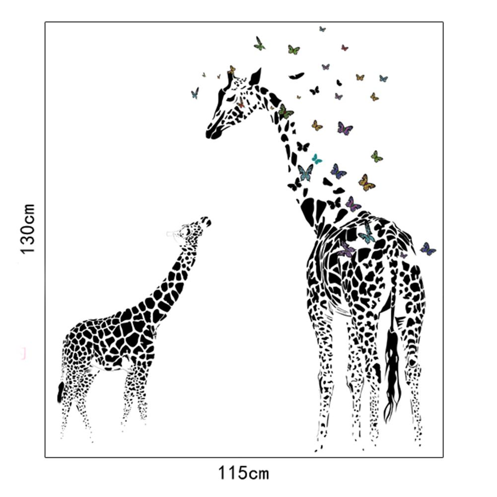 Giraffe Butterfly Wall Sticker Removable DIY Vinyl Wall Decals Wild Animals Wallpaper For Home Living Room Decoration De Parede in Wall Stickers from Home Garden