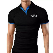 Summer Short-sleeved Polo Shirt Men's Fashion Is The Boss Polo Shirt Casual Slim Letters Business Men's Short-Sleeved T-Shirt Me