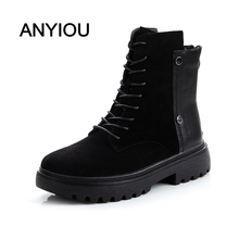 цена ANYIOU 2020 New Combat Women Winter Boots Lace Up Gothic Black Half Platform Leather Ankle Boots Female Shoes Fashion Boots онлайн в 2017 году