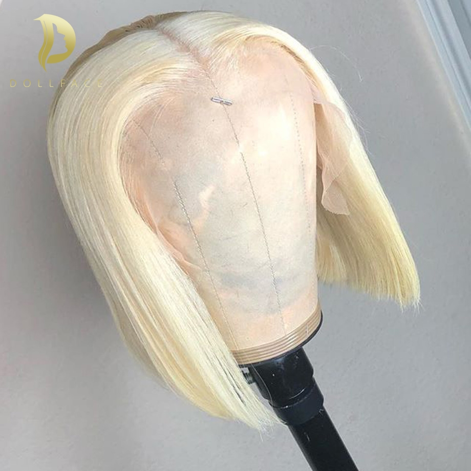 Lace Front Human Hair Wigs Short Straight Bob Wig Blonde 613 Brazilian remy hair For Black Women 130 density 13x4 Dollface image