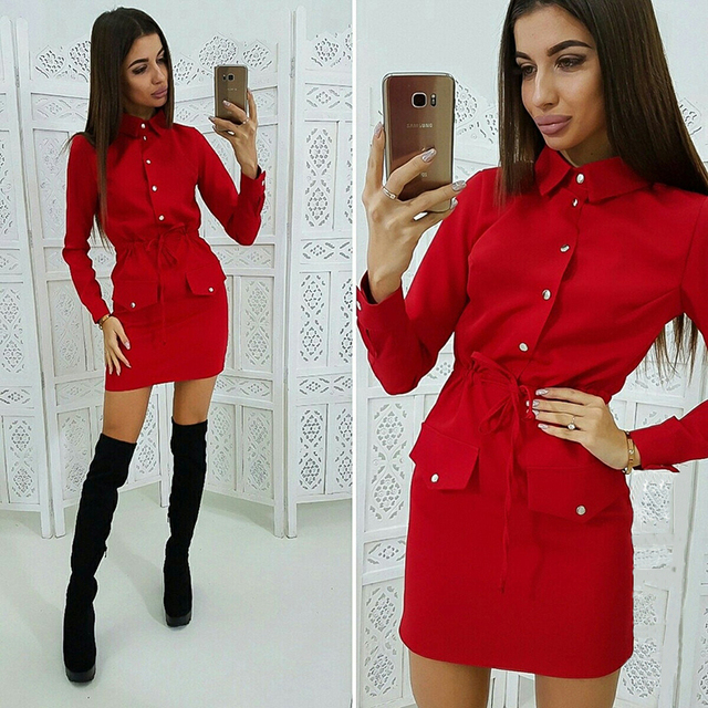 Women Casual Sashes Button Sheath Dress Turn Down Collar Long Sleeve Solid Dress 2019 Autumn Fashion Vintage Elegant Mini Dress 2