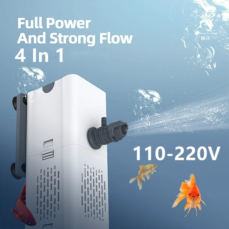 New 4 In 1 Filter Pump for Aquarium 110-220V Fish Tank Submersible Internal Filter Pump Oxygenation Pumping Wave Making 2021