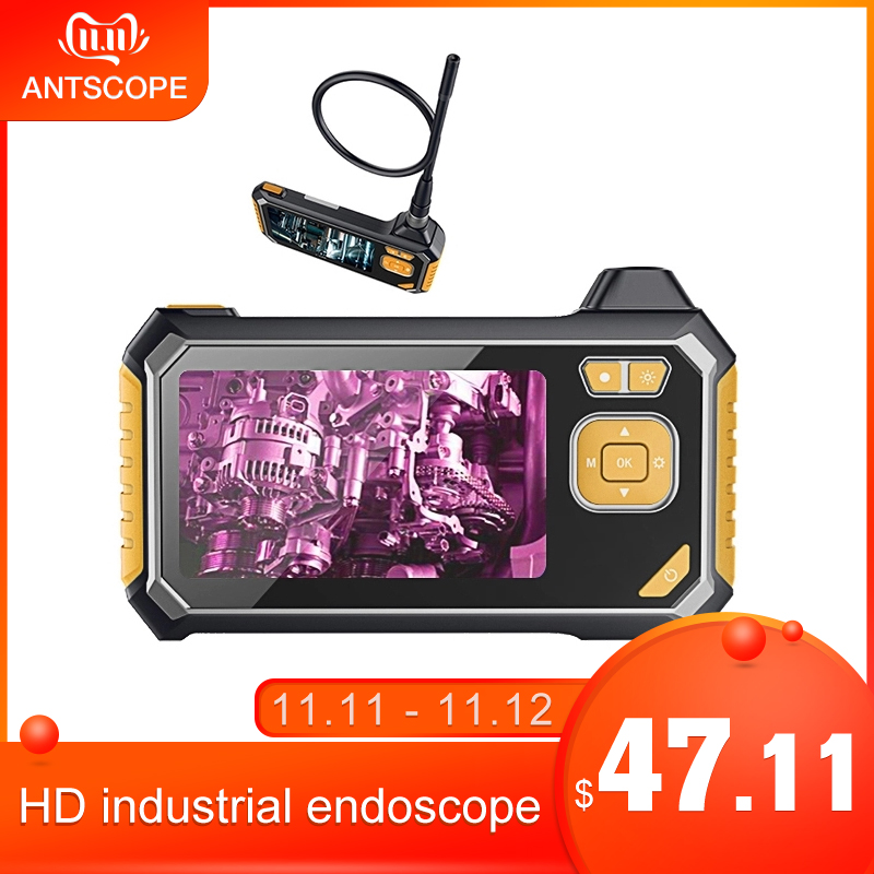 Antscope 1080P HD 8mm Industrial Endoscope 4.3 Inch Auto Repair Inspection Camera Endoscope Lithium Battery Snake Hard Camera 19