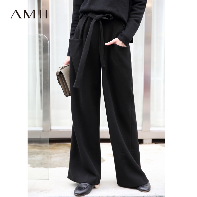 Amii Minimalist Solid Wide Leg Pants Winter Women Loose High Waist Female  Casual Pants 11797527