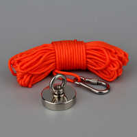200Kg Design Magnet Strong N52 Neodymium Permanent Magnet Magnet Fishing Magnets with 10m Rope Option Magnetic Material Base