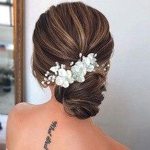 Le Liin Свадебная заколка для волос с кристаллами и жемчужинами и цветами, Цветочный стиль, заколка для невесты, ювелирные изделия для волос, св...