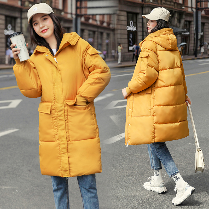 Plus Size Thickening Female 2019 New Women Long Hooded Solid Casaco Loose   Parka   Jacket Winter Padded Coat Zipper Cotton