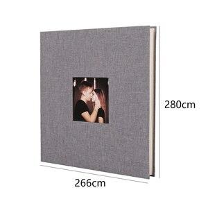 Image 5 - Linen Cover Picture Album Self adhesive Film DIY Handmade Scrapbook Memory Photo Book Sticky Type Grey Home Decor