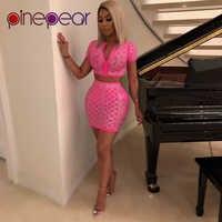 PinePear Plus rozmiar róża czerwony błyszczące Rhinestone diament sukienka wieczór stroje Big kobiet Sexy klub 2 sztuka zestaw 2019 dropshipping