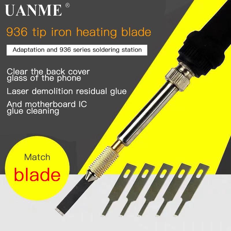 936 Soldering Iron Heating Blade For Mobile Phone Back Cover Glass Glue Remove Tool Mainboard Glue Fingerprint IC Repair Tool