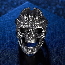 Vintage Domineering Titanium Steel Skull Ring man Punk hip hop jewelry matching male big silver finger ring accessories gifts r006 7 skull shaped stylish titanium steel ring silver us size 6