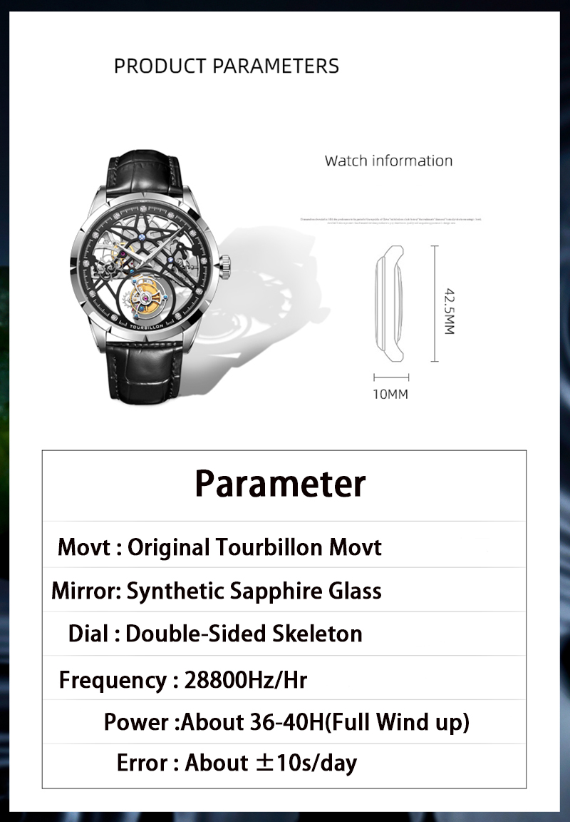 2020 novo modelo guanqin original tourbillon relógio