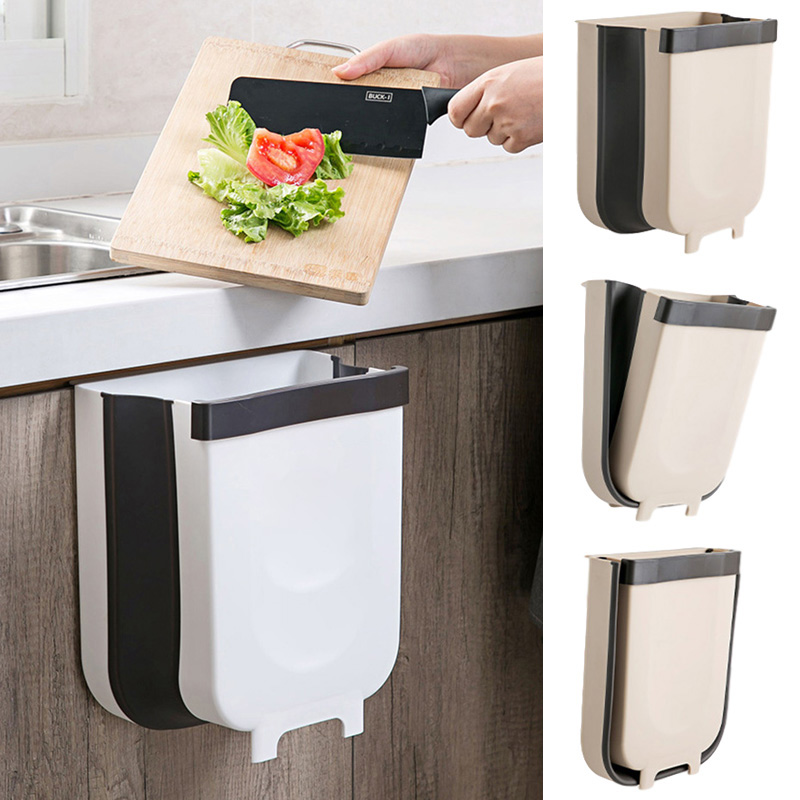9l Wall Mounted Folding Waste Bin, Hanging Trash Can For Kitchen Cabinet Door