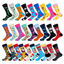 LIONZONE Men Socks Plant Cactus Animal Panda Whale Cat Totem Face Smile Dancing Little Man Patterns Gift Casual Cotton