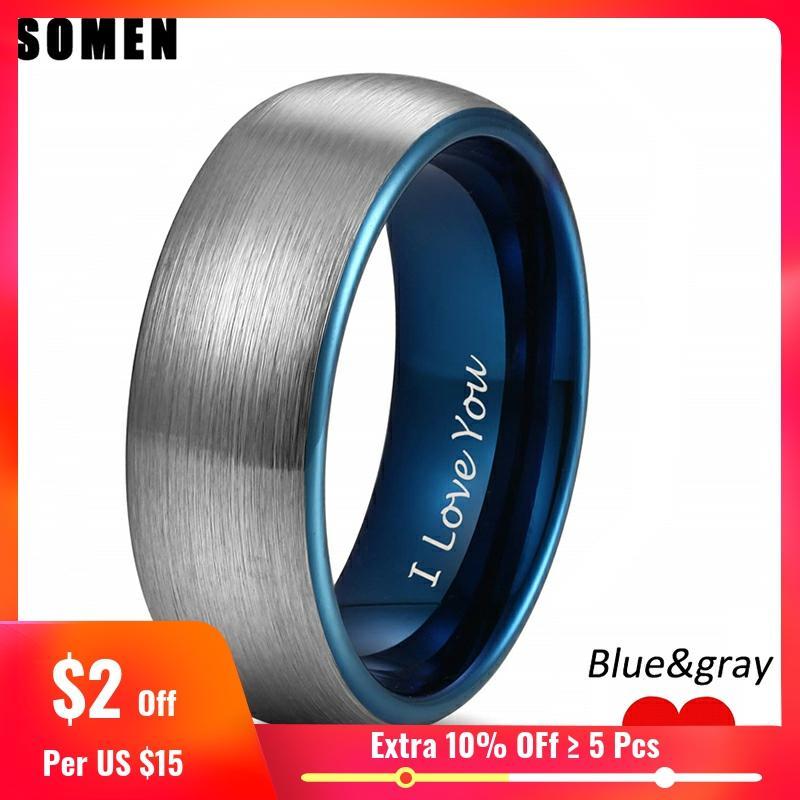 Anel de tungstênio feminino anel de casamento vintage anel de noivado de casal anels somen ring i love you engraved gravado 4mm 6mm 8mm