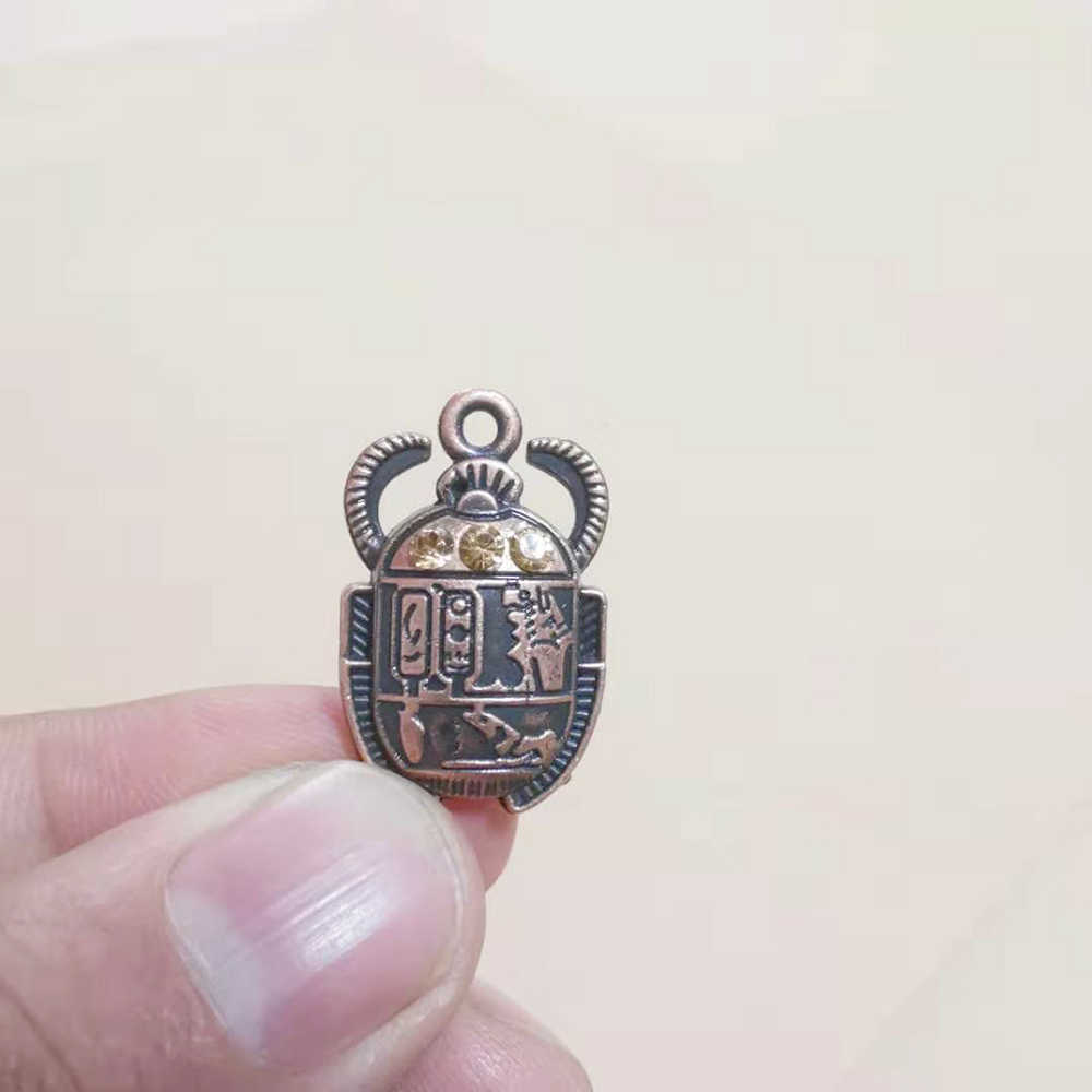 Egipskie cyrkonie Scarab Beetle Charms dla tworzenia biżuterii naszyjnik bransoletka kolczyki breloki moda wisiorki ustalenia 5 sztuk