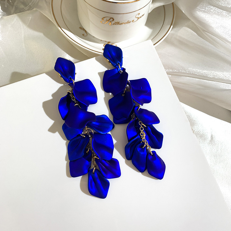 Gorgeous Blue Petal Pendant Drop Earrings For Women Girls Rose Flower Tassel Long Earring Bohemian Elegant Party Fashion Jewelry