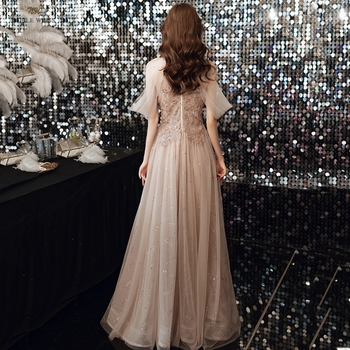 Champagne Prom Dresses  Halter  Dresses Woman Party Night  Floor-Length  Beading  Prom Dress  A-Line  Evening Dresses 2