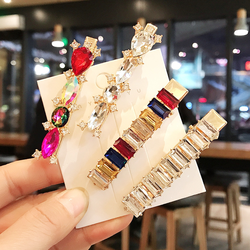 1PC Colorful Luxury Crystal Women Hairpins Geometric Round Oval Rhinestones Hair Clips Hair Jewelry Accessories Drop Shipping