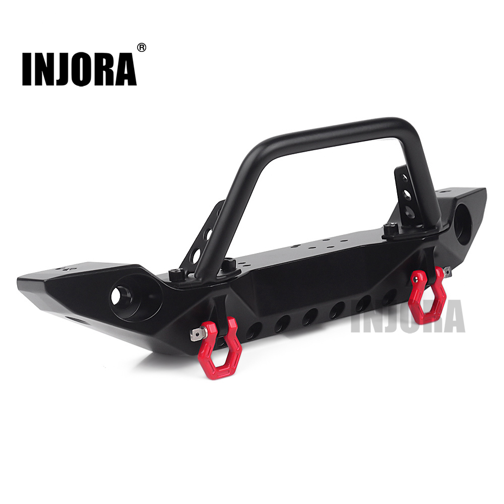 INJORA Metal Front Bumper With Led Lights For 1/10 RC Crawler Axial SCX10 90046 TRAXXAS TRX-4
