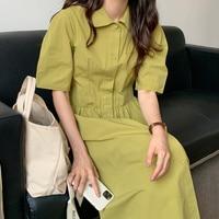 Koreanische Chic Kleid Frau Temperament Sanfte Kleine Revers Kleid Einreiher Schlanke Taille Über Knie Blase Hülse Hemd Kleid