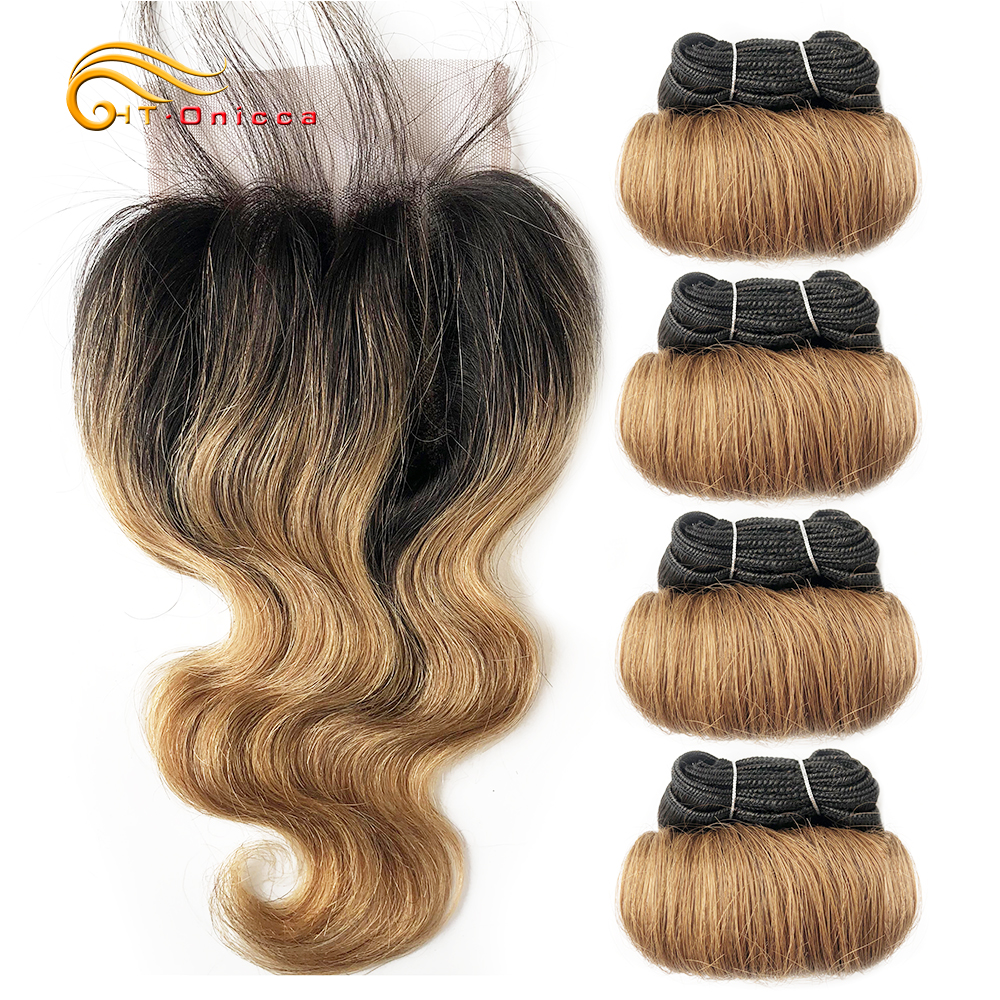 Brazilian Curly Hair 4 Bundles With Closure 1B/27/30 Burgundy Ombre Bundles With Closure Remy Human Hair Weave Closure