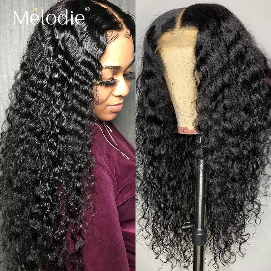 Melodie 26 28 30 polegadas onda profunda encerramento peruca frente do laço cabelo humano encaracolado perucas de cabelo brasileiro peruca frontal do laço 4x4 barato