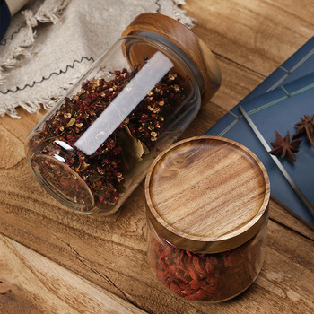 Wood Lid Glass Airtight Canister Kitchen Storage Bottles Jars Food Container Grains Tea Coffee Beans Grains Candy Jar Containers 2