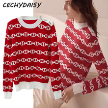 Woman sweater autumn winter 2020 o neck red black casual korean clothes Knitted pullover jumper top zaful pull sueter mujer ropa