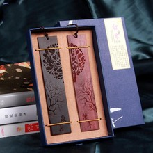 Chinese Style Retro Bookmarks Ebony Sandalwood Wood Quality Exquisitely Carved High-Quality Stationery Bookmarkers for Books